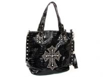 Crocodile Embossed PVC Rhinestones studded Bag. Top zipper closing. Center divider, side zipper pocket and adjustable shoulder strap included.