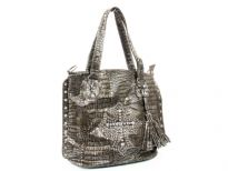 Crocodile Embossed PVC Rhinestones studded bag. Top zipper closing. Center divider, side zipper pocket and shoulder strap included.
