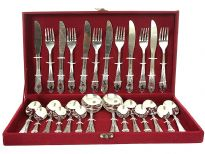 26 pieces stainless steel cutlery set comes with velvet lined wooden box. Hand buffed and hand polished. Made in India