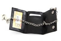 Carry your money in style. This is a genuine leather biker wallet with stainless steel durable chain. Snap lock closure. As this is genuine leather, please be aware that there will be some small creases and nicks in the leather but the wallet are all brand new.