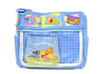 Diaper Bag with cartoon caracters pattern. Bag has multiple compartments for addional storage, zipper closure, and a single strap. Made of Fabric.