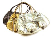Designer Inspired metallic shoulder bag with a double handle and a zipper closure. Exterior pockets with belts and zipper details adorn the bag. Made of PU (polyurethane).