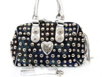 Studded all over denim fabric handbag. Top zipper closing double handle & adjustable shoulder straps included. Imported.