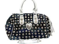 Studded (Both sides) denim Handbag. Top zipper closing. adjustable shoulder strap included.
