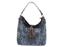 Metal Eyelets studded Denim Bag. Top zipper closing with a hanging tussle over it. Two zipper pockets inside the bag. Single shoulder strap.