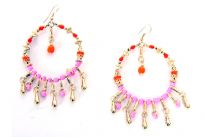 Golden Earrings with pink and red beads