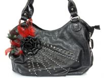Faux Leather Feather/Rose flower & studded bag. top zipper closing. Back outside zipper pocket.
