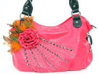 Faux Leather Feather/Rose flower studded bag. Top zipper closing. Back outside zipper pocket.