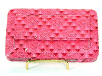 Rose Flower embossed snap button clutch wallet with front pocket