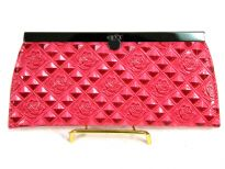 Flower Print Embossed PVC Clutch Wallet