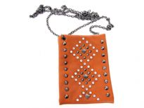 Rhinestones studded PVC cross body bag with metal chain.