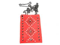 Rhinestones studded PVC cross body bag with metal chain