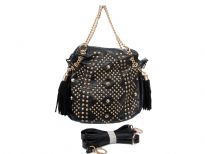 Studs and Rhinestones studded metal chain fashion handbag. Top zipper closing. Adjustable shoulder strap included.