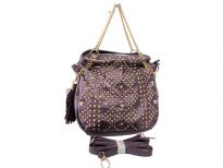 Studs and Rhinestones studded Metal chain handbag. Top zipper closing and adjustable shoulder strap included.