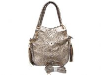 Studs and Rhinestones Fashion Handbag with Double Shoulder Handle. Top zipper closing and back zipper pocket. Adjustable shoulder strap is included.