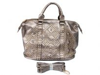 Studs and Rhinestones Rectangle Fashion Handbag with top zipper closing and back zipper pocket. Adjustable shoulder strap included.