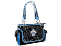 Rhinestones studded PVC Fleur De Liz double handle bag. The bag has top zipper closing, center divider, two side pockets and back zipper pocket.