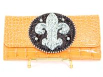 Fleur De Liz PVC Crocodile embossed check book wallet