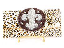 Fleur De Liz Leopard print check book wallet