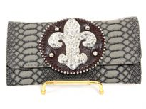 Fleur De Liz Crocodile embossed PVC check book wallet
