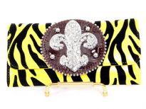 Fleur De Liz PVC Zebra Print check book wallet