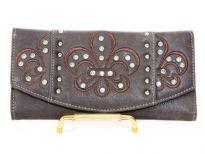 Rhinestones studded PVC Fleur De Liz check book wallet.