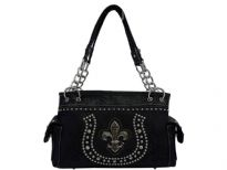 Rhinestones studded PVC Fleur De Liz and horse shoe inspired double handle bag. Top zipper closing, 2 side pockets and center divider.