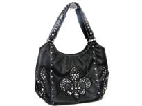 Rhinestones studded PVC Fleur De Liz double handle bag. The bag has center divider, top zipper closing and side zipper pocket inside. Back zipper pocket.