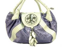 Fleur De Liz Licensed Jacquard Handbag with braided double handle & logo in rhinestones on the flap over the bag.