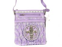 Fleur De Liz Licensed PVC Messenger Bag with logo in rhinestones. Top zipper closure & outside zipper pocket also.
