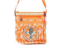 Fleur De Liz Licensed PVC Messenger Bag with logo in rhinestones. Top zipper closure & outside zipper pocket also.