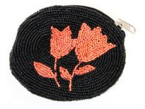 Hand Beaded coin purse. Zipper closing.