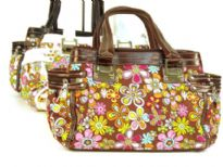 Printed Fabric Handbag with PV