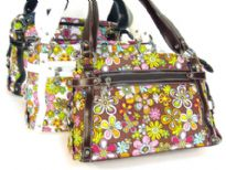 Floral Print Fabric Handbag with PVC belts and zipper outside the bag.