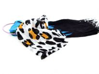 Black & White Cow Print 100% Viscose Scarf with Black & Turquoise Colored Ends. Twisted fringes on the ends. Lightweight and very soft to use. Imported.