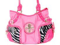 Fleur De Liz PVC Handbag. Top zipper closing