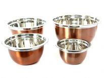Stainless Steel 4 Pieces German Bowl set colored Copper( 1.5, 3, 5 & 8 Qrt)
