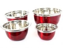 Stainless Steel German Bowl 4 pieces set colored Red( 1.5, 3, 5 & 8 Qrt)