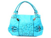 PVC double handle fashion handbag with cutout design in the front & belted embellishments also. Top zipper closing, outside zipper pocket & center divider inside the bag.