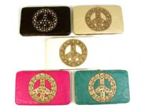 Rhinestones Studded Peace sign clutch wallet