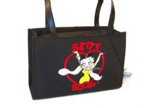 Betty Boop Heart Microfibre Tote Bag with magnetic lock. Made with fabric and double handle.