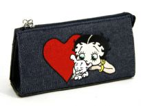 Betty Boop Heart Denim Cosmetic bag made with fabric. Has zipper closure.