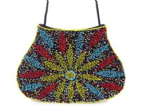 Hand Beaded Fabric Evening shoulder Bag. Top snap button closing.
