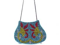 Hand Beaded Fabric shoulder Evening bag. Top snap button closing.