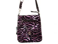 Zebra Print PVC Messenger Bag, top zipper closing, front pocket