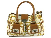 PVC Fashion Handbag with 2 front pockets, zipper closure & belt over it. It has 2 side pockets also.