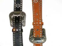 Ladies Belts/Sold Per Dozen. Studded belt with detailed buckle.