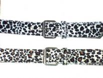 Ladies Belts/Sold Per Dozen. Belt has an animal print pattern.
