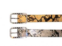 Ladies Belt with animal print pattern and rhinestones studded buckle.