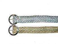 Ladies Belt has a mettallic braided pattern and a round buckle.
